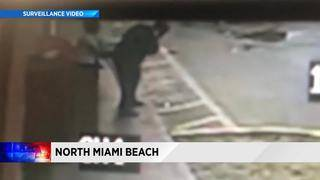 Surveillance video shows man getting stabbed in neck in North Miami Beach