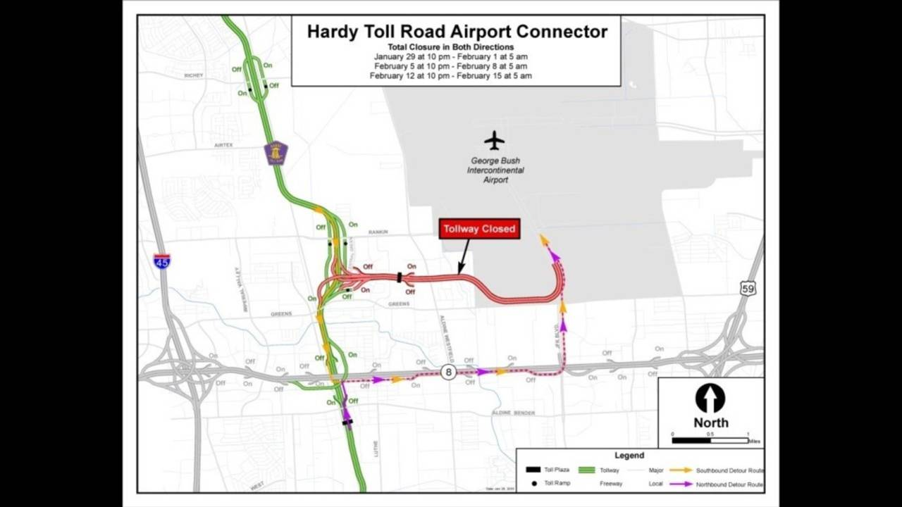 Toll Roads In Houston Map.Hardy Toll Road Near Iah Closed For The Weekend