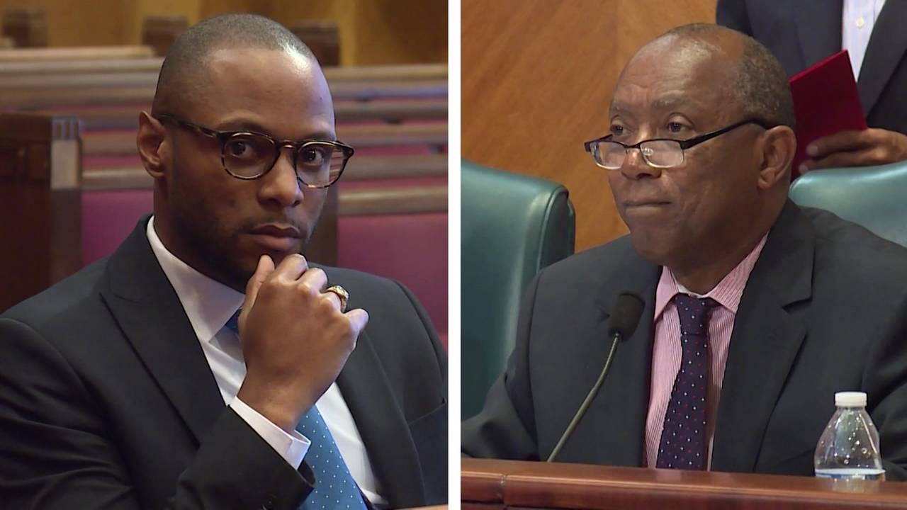 Marvin Agumagu (L) and Houston Mayor Sylvester Turner (R)