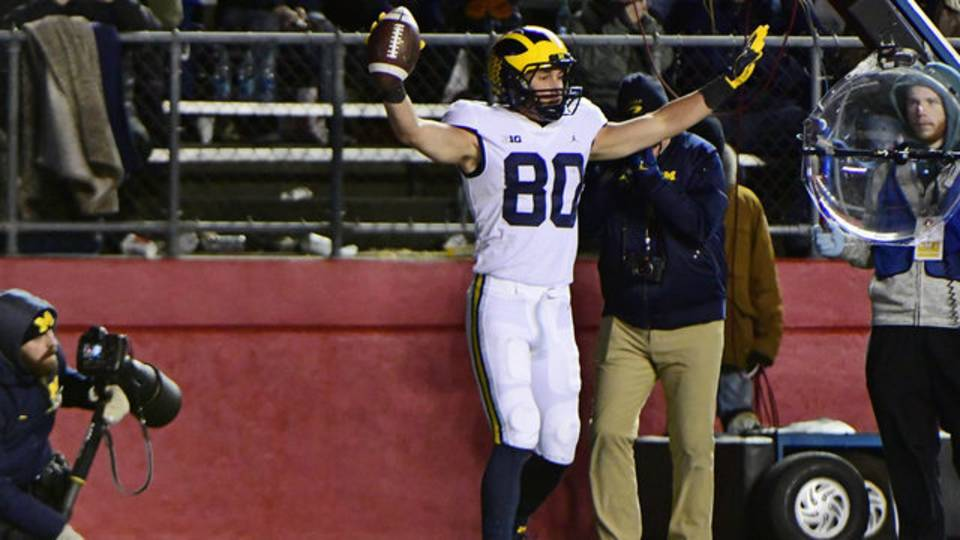 Oliver Martin touchdown catch Michigan football vs Rutgers 2018