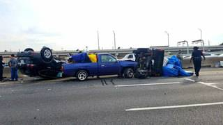3-vehicle accident slows down traffic on Highway 59 at Chimney Rock Rd.