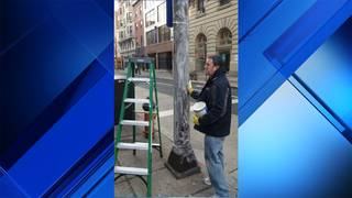 Philadelphia greases up light poles to keep Eagles fans grounded