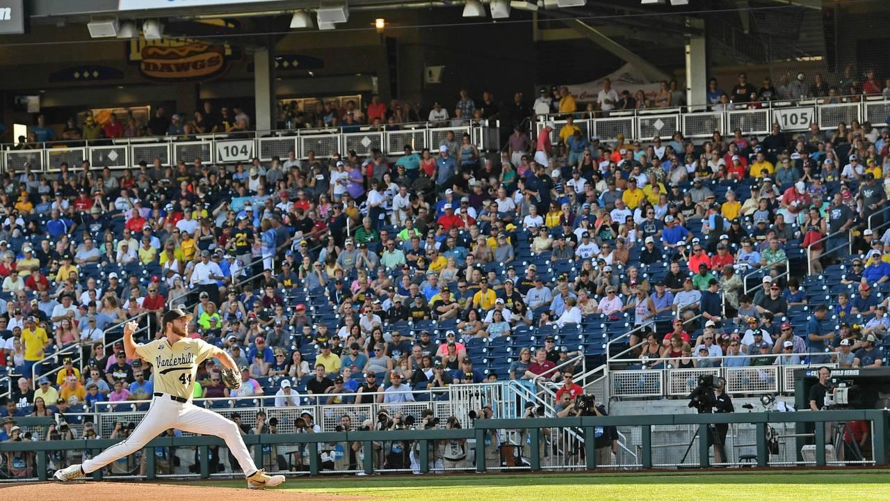 Mason Hickman Vanderbilt vs Michigan baseball 2019 College World Series CWS