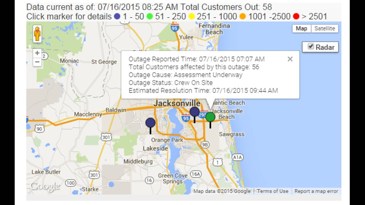 Power Outage Map Jea.Power Restored To Thousands After Outage In Baymeadows Area