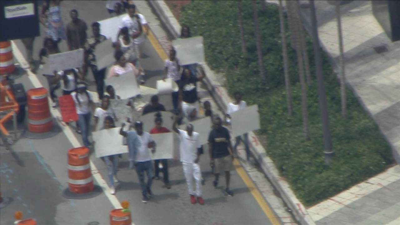 Sky 10 over downtown Miami protest regarding gun violence