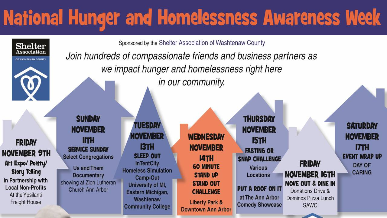 Schedule of events National Hunger and Homelessness Awareness Week