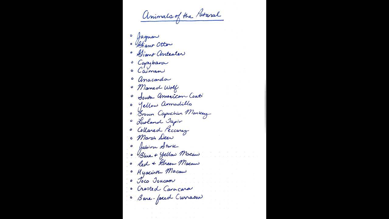 animal list