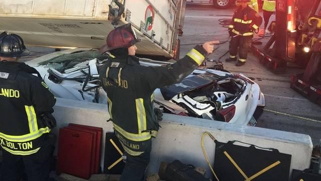 I-4 crash big rig crushes car