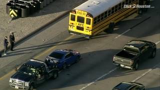 School bus involved in rear-end crash on Southwest Freeway near downtown