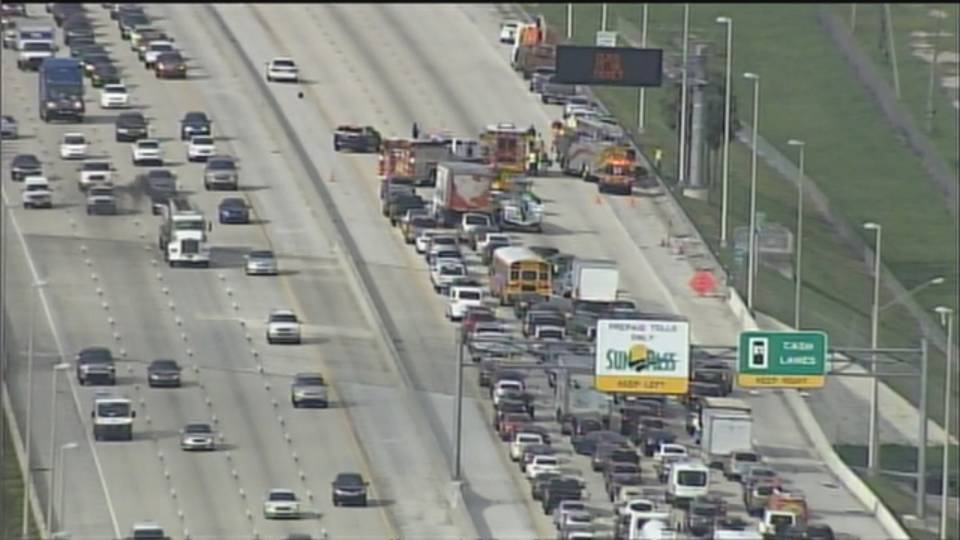 Traffic backed up after worker hit on Turnpike