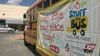 Video: Community donates school supplies for Stuff the Bus event