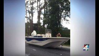 Boat on I-95 causes traffic delays