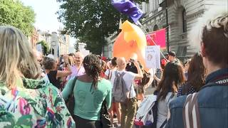 London to Helsinki: Protests follow Trump through Europe