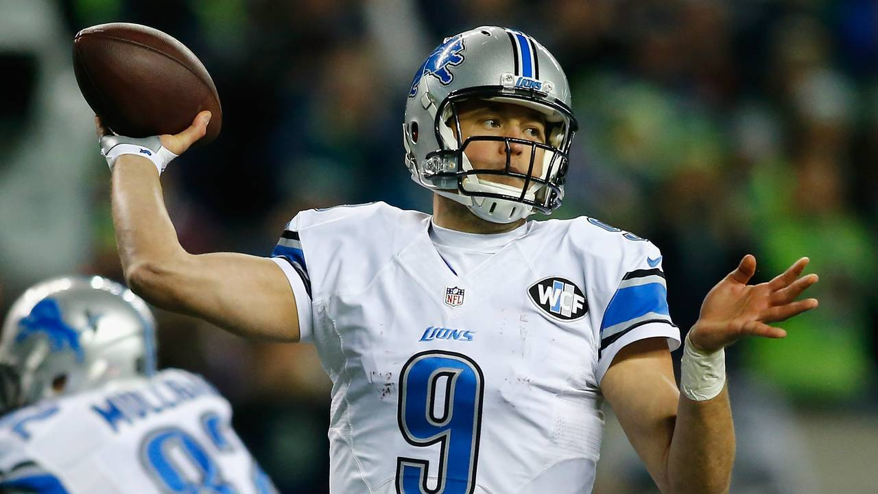 afb8d0bd7eb Matthew Stafford  9 of the Detroit Lions throws a pass during the second  half against the Seattle Seahawks in the NFC Wild Card game at CenturyLink  Field on ...