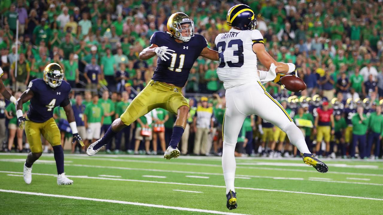 Zach Gentry dropped pass Michigan football vs Notre Dame 2018