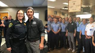 Matthew Mcconaughey Brings Lunch To Houston Police Officers