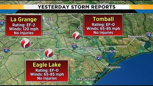 Tornado touchdowns confirmed in Tomball, Eagle Lake, La Grange, NWS says