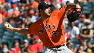 Springer's slam, Verlander's K's send Astros past Halos, 7-0