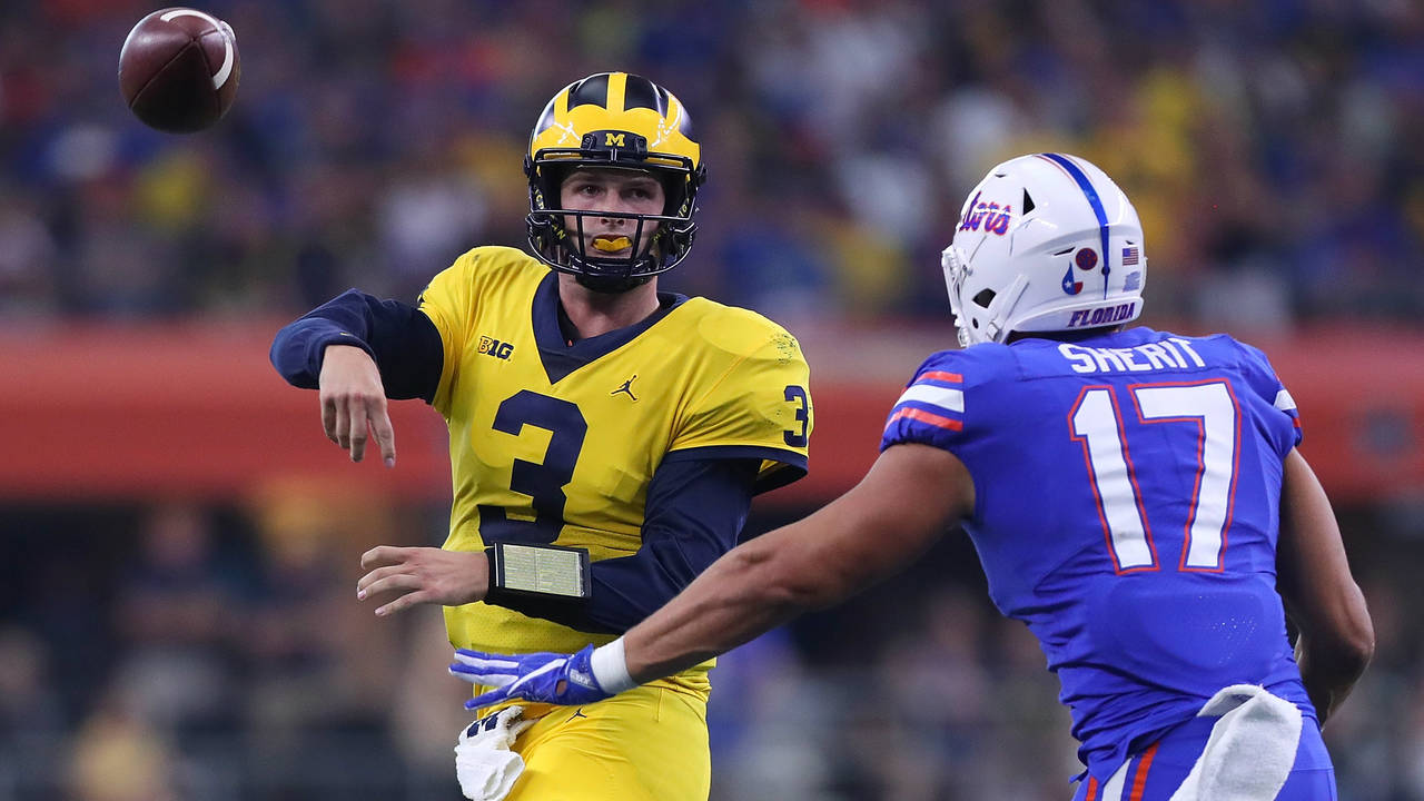 Wilton Speight pass Michigan football vs Florida 2017