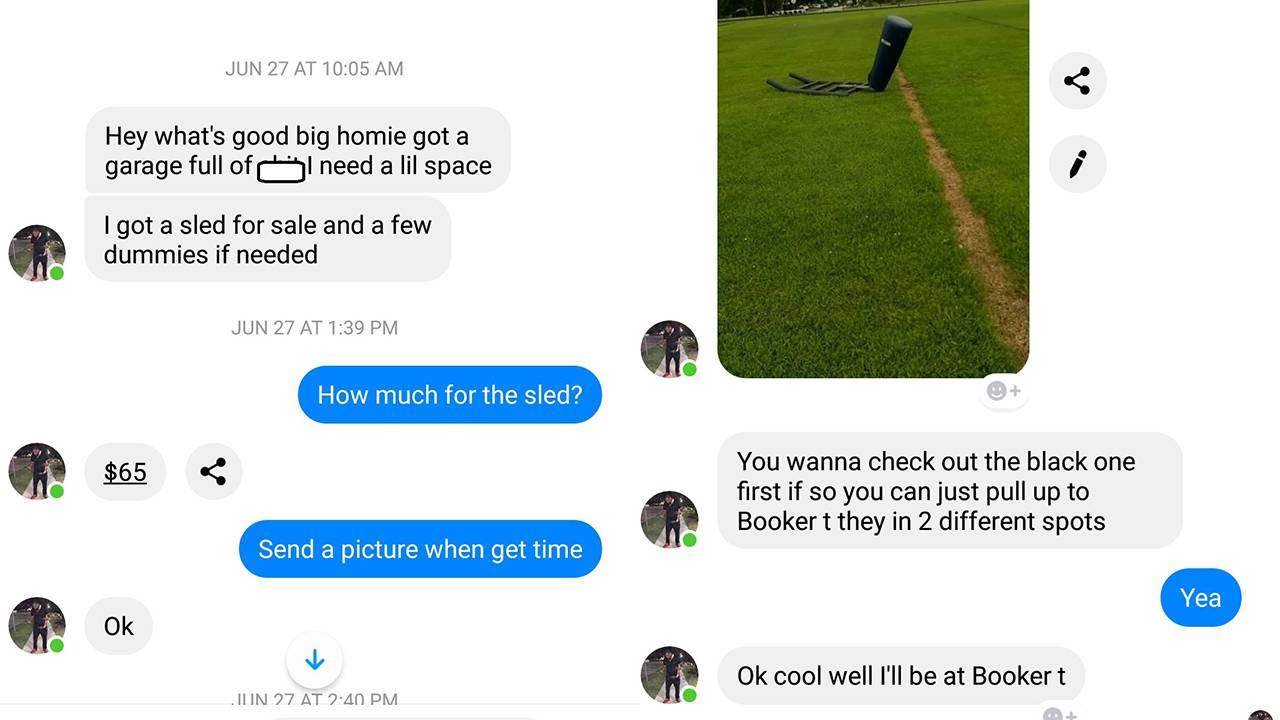 Football sled scam FB messages