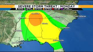 Strong to severe storms arrive Sunday night through Monday morning