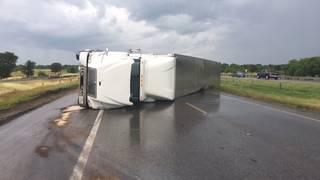 18-wheeler rolls over, causes shutdown of part of 410