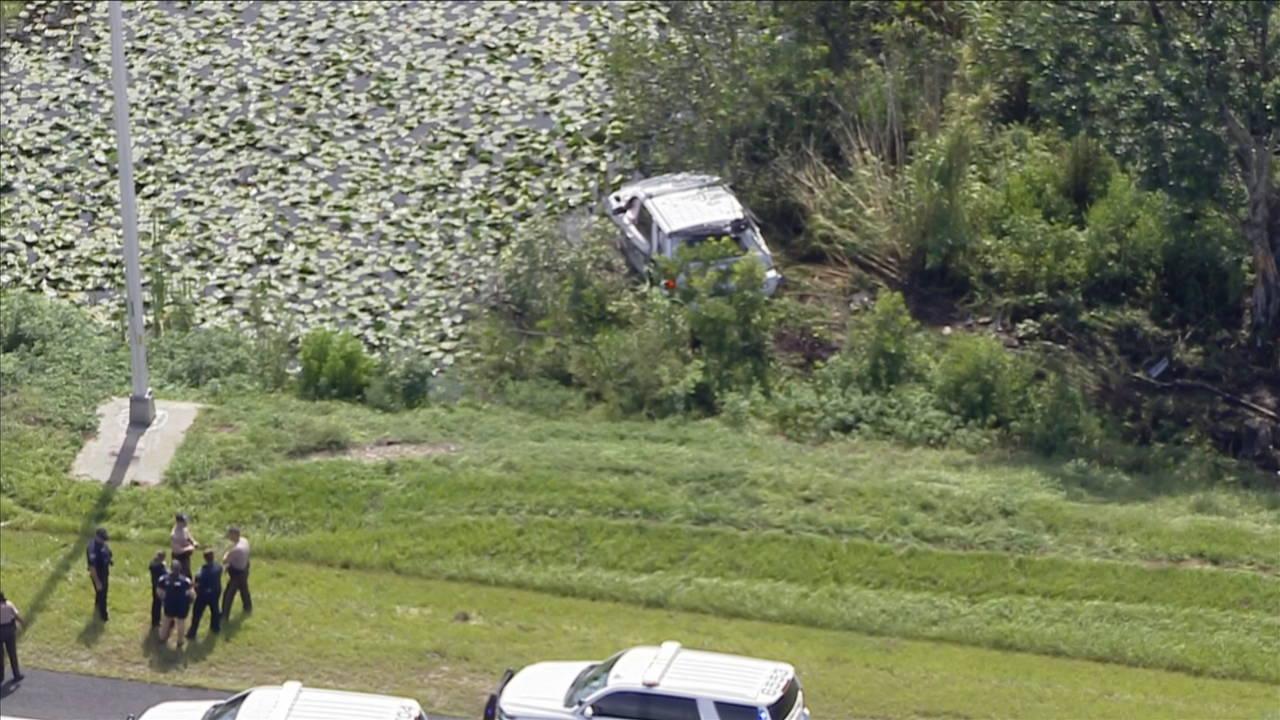 Longshot of Pembroke Pines police crash on Krome