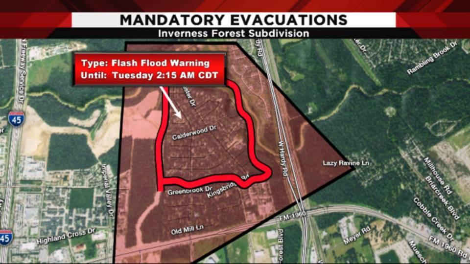 Inverness Forest subdivision mandatory evacuation Aug. 28, 2017