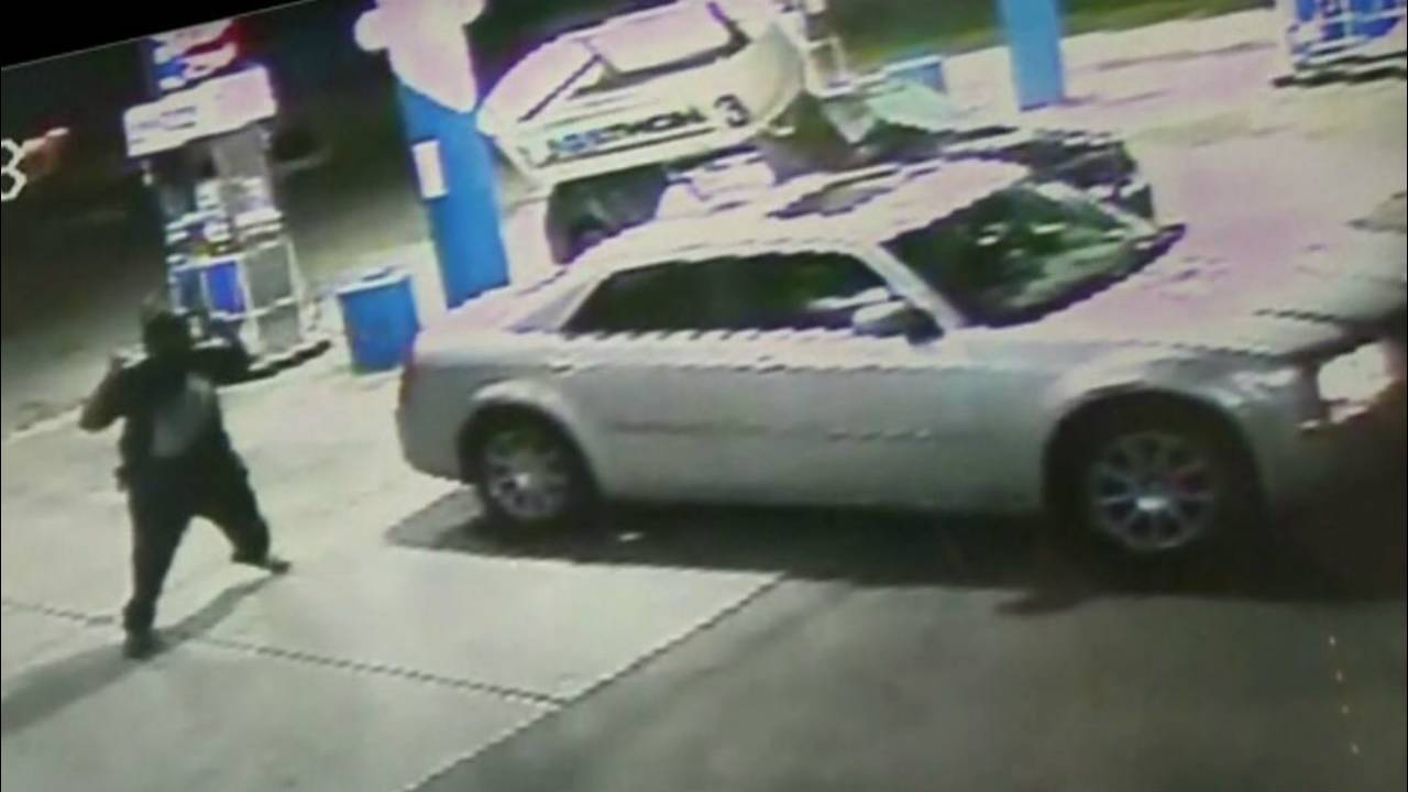 VIDEO: Car slams into gas pump on Detroit's east side