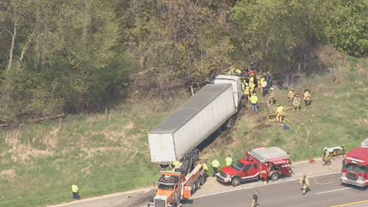US 23 Northfield Township semi truck crash 1