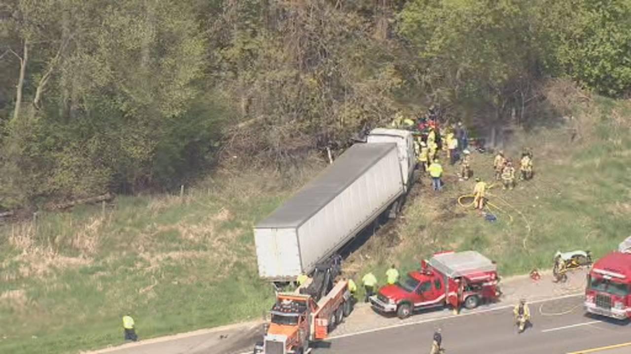 US 23 Northfield Township semi truck crash 1