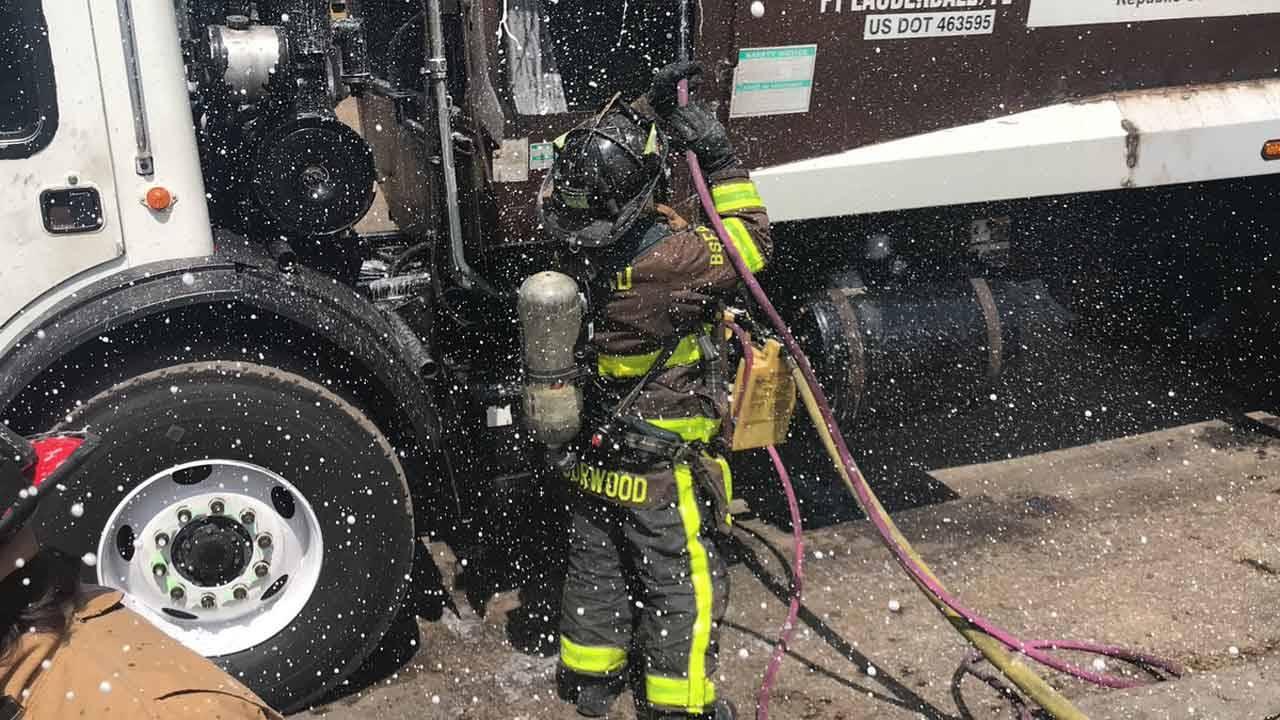 Foam for garbage truck fire in Lauderhill