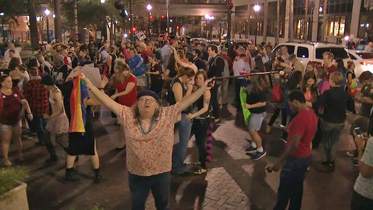 Crowd outside City Hall after HRO expansion passes