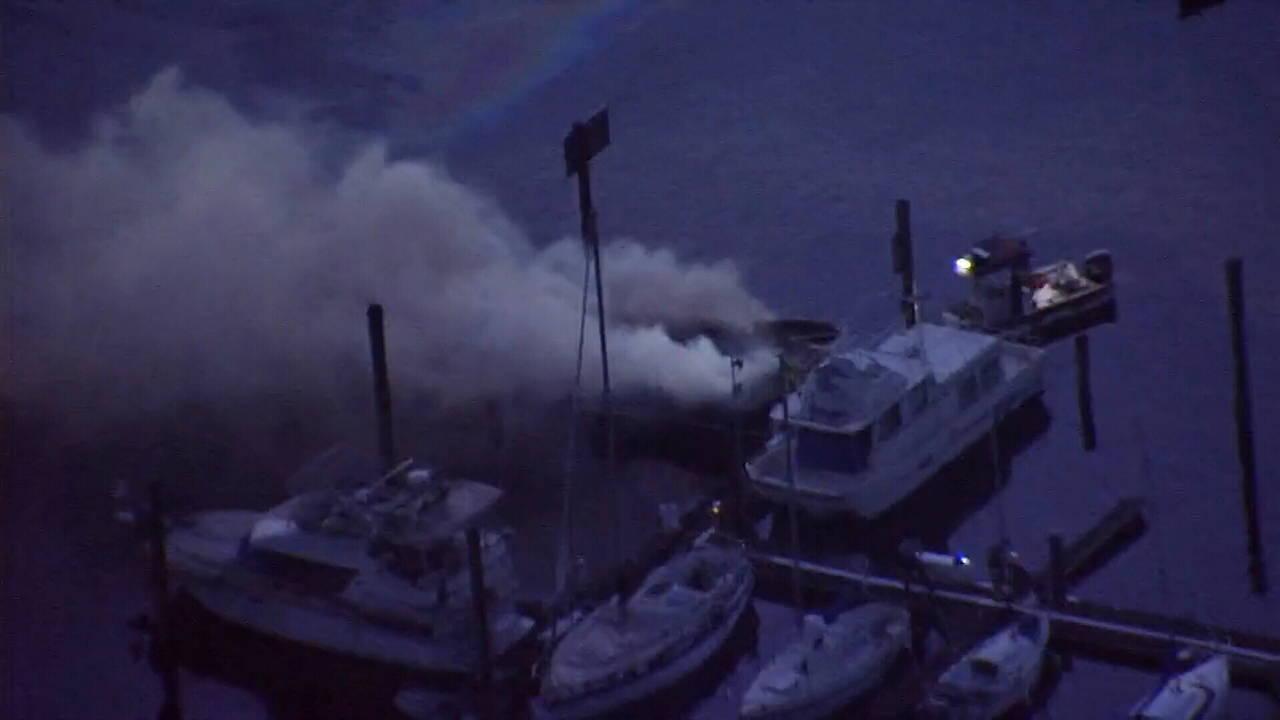 Boat fire on Lake Monroe