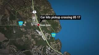 4 injured when car hits pickup truck on U.S. 17