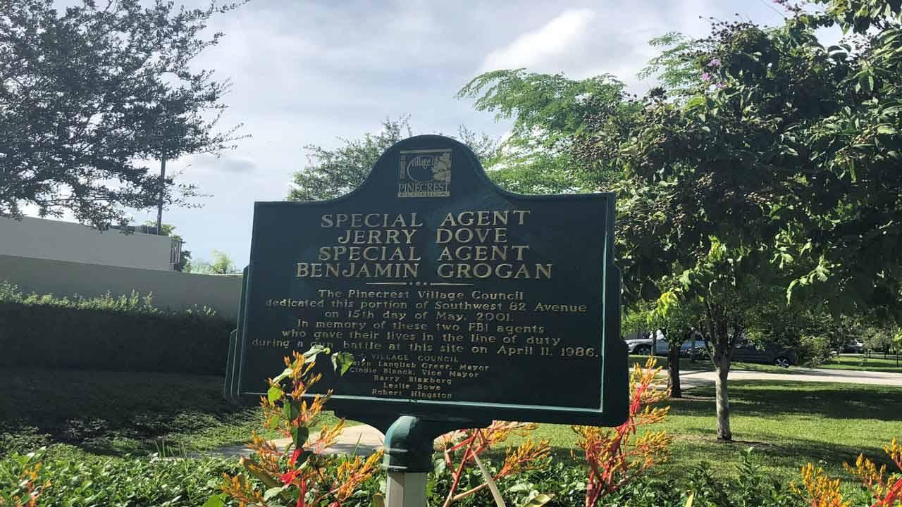 Pinecrest memorial marker for Jerry Dove and Benjamin Grogan, agents killed in 1986 FBI shootout