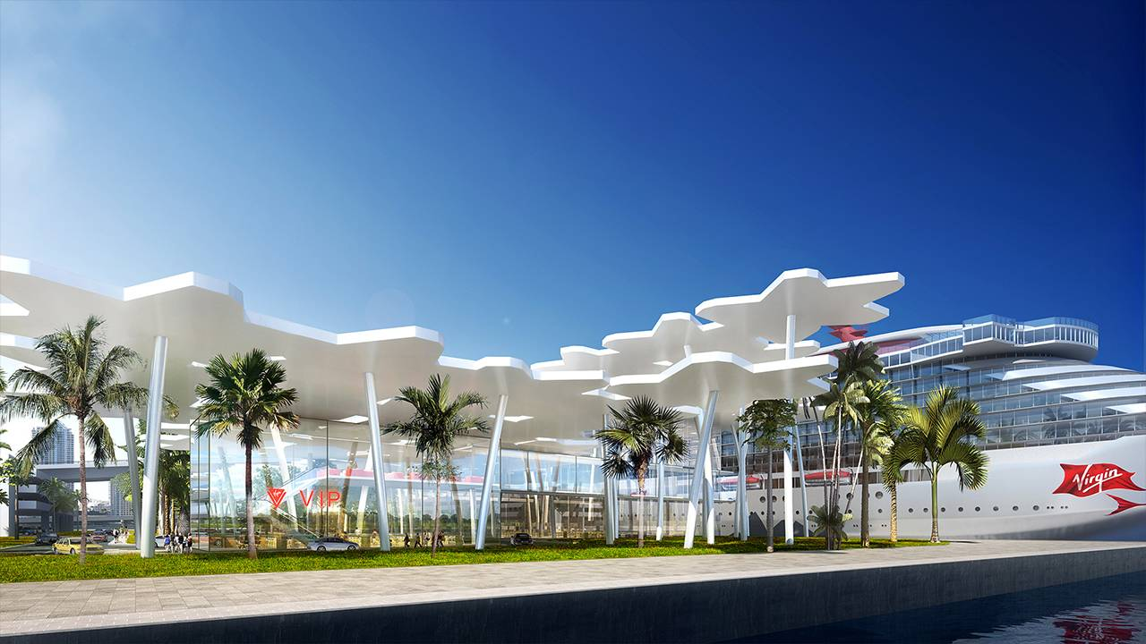 Virgin Voyages terminal VIP entrance rendering