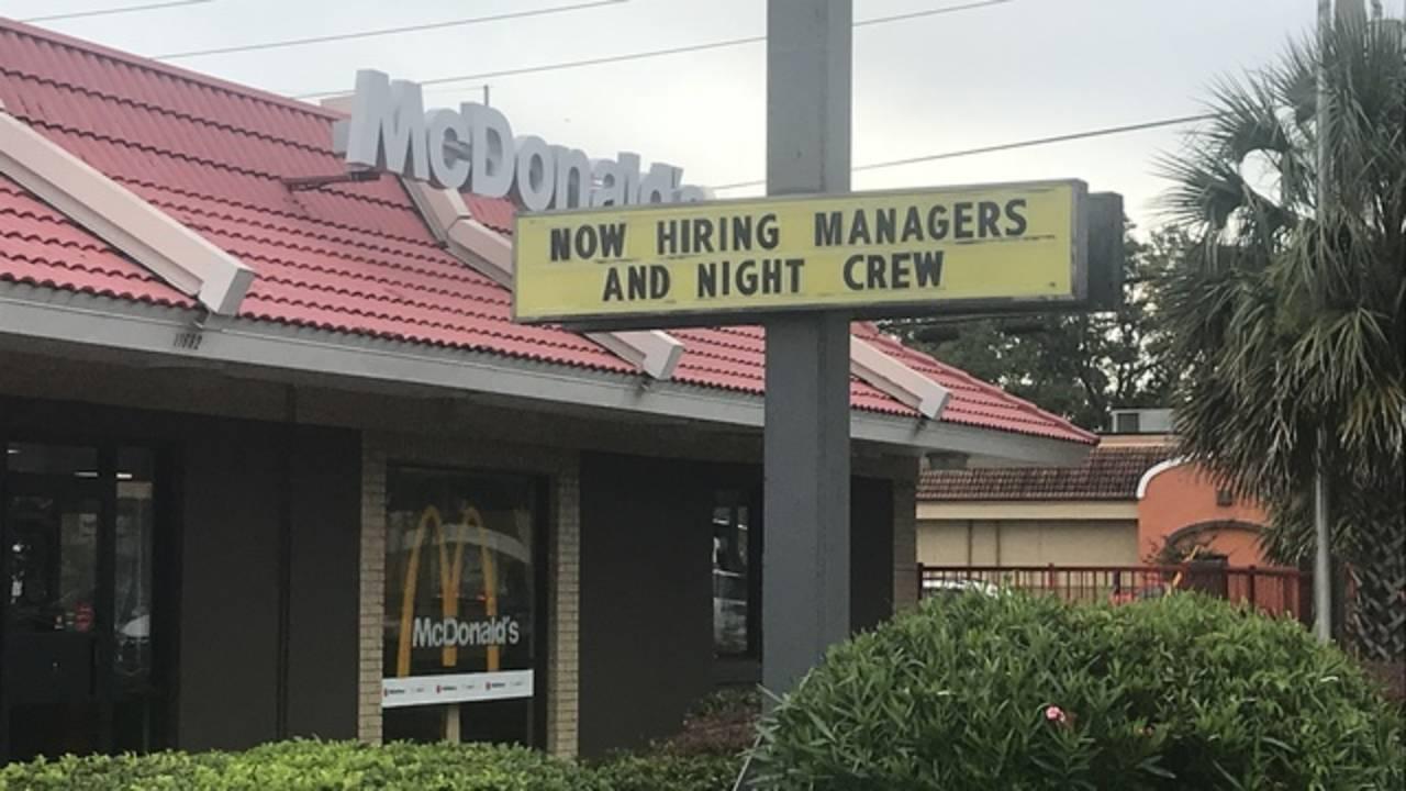 McDonalds sign hiring new night crew