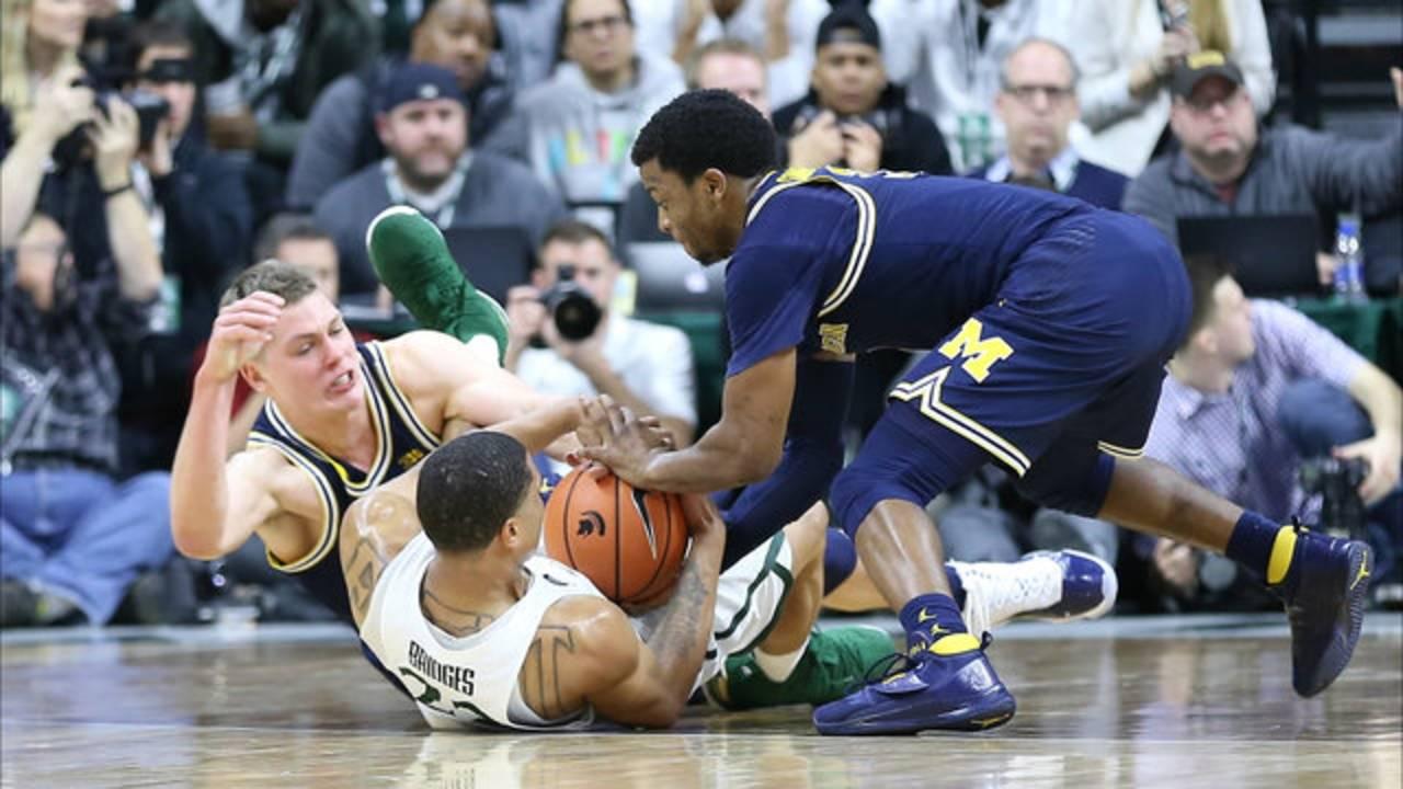 Zavier Simpson and Mo Wagner Miles Bridges Michigan basketball vs MSU