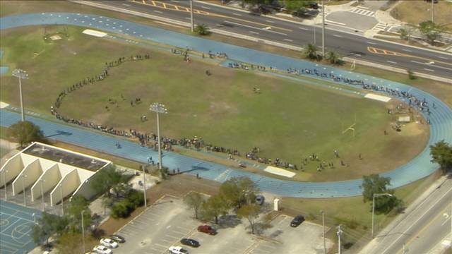 Miami northwestern students forming circle on track