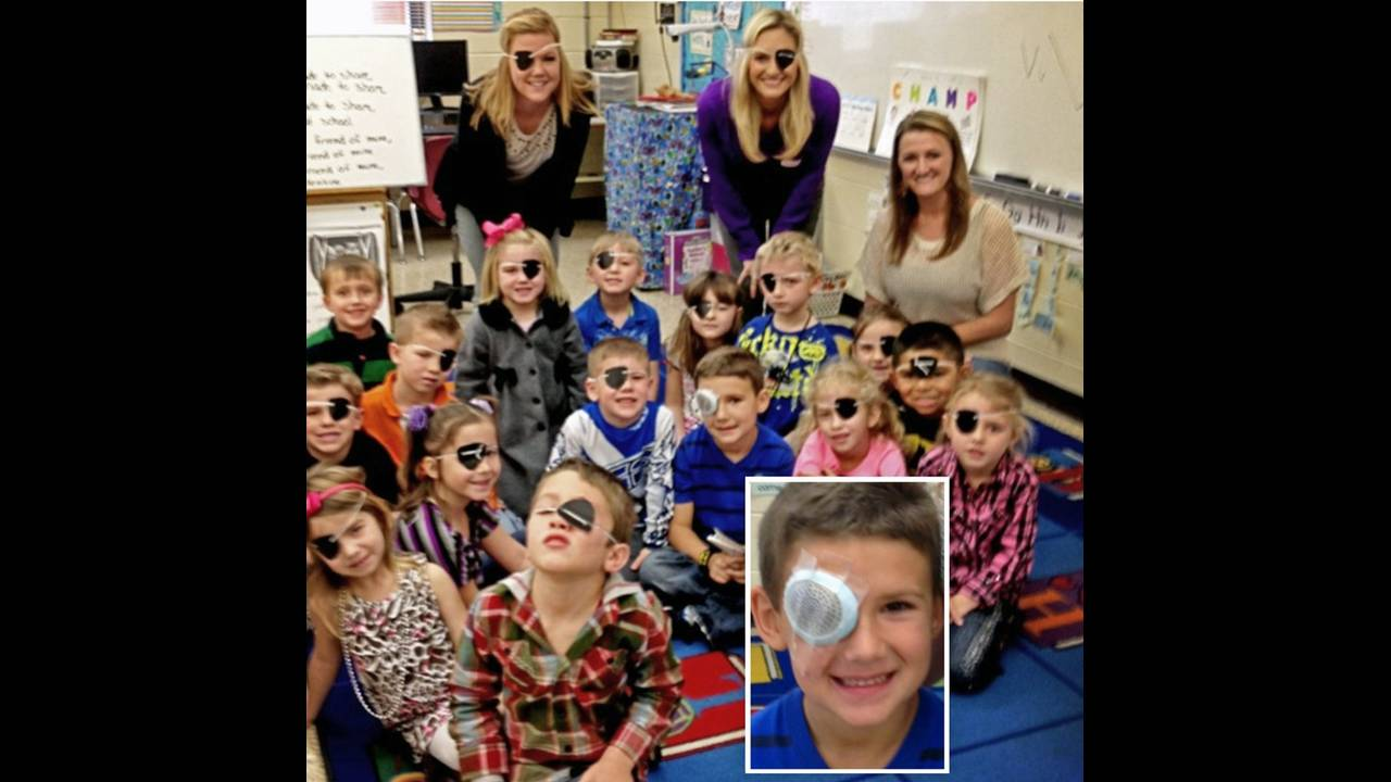 Class with eye patches_18529764