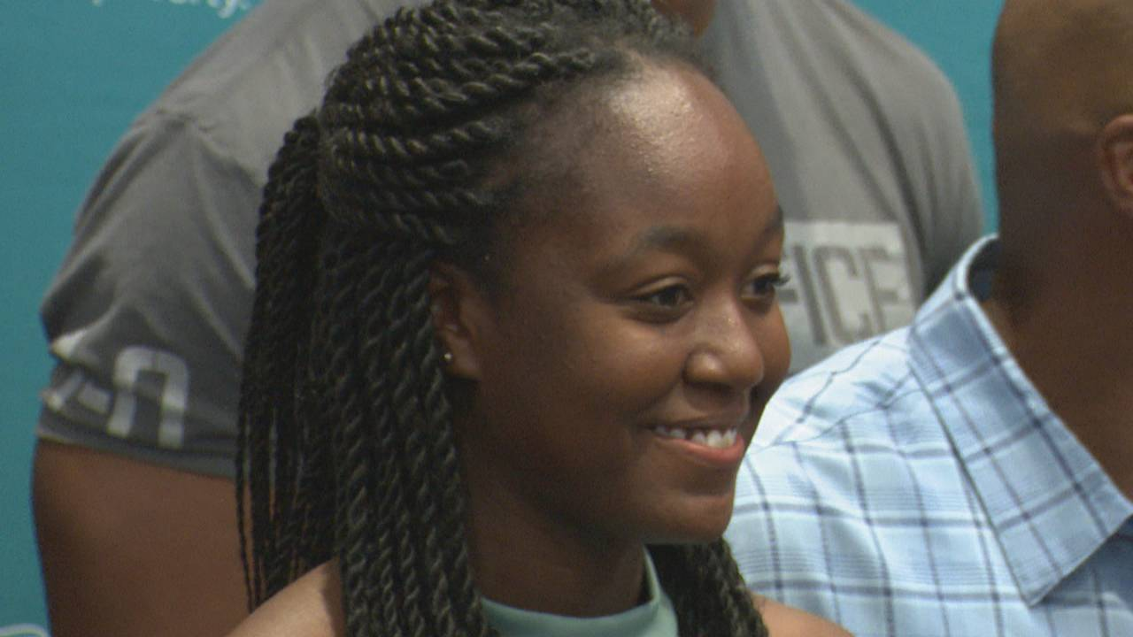 Dolphins scholarship recipient Valicia Browne all smiles