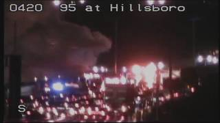 Car fire blocks several southbound lanes on I-95 at Hillsboro Blvd.