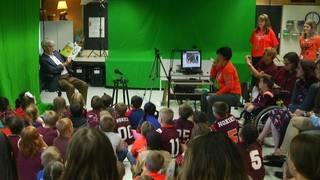 Frank Beamer makes donation to Radford area elementary school reading program