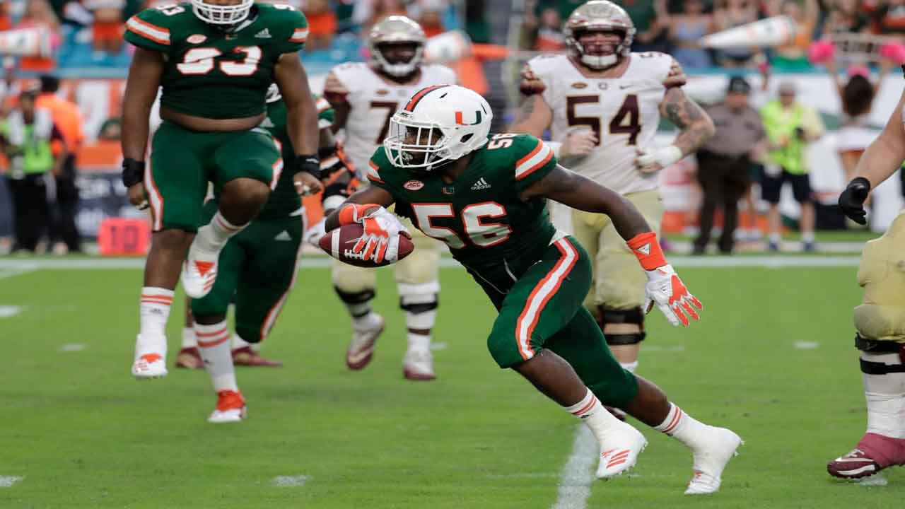 Miami Hurricanes linebacker Michael Pinckney returns INT vs. Florida State Seminoles in 2018
