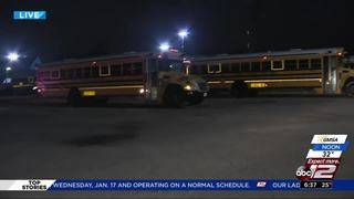 School buses on the road again following ice day