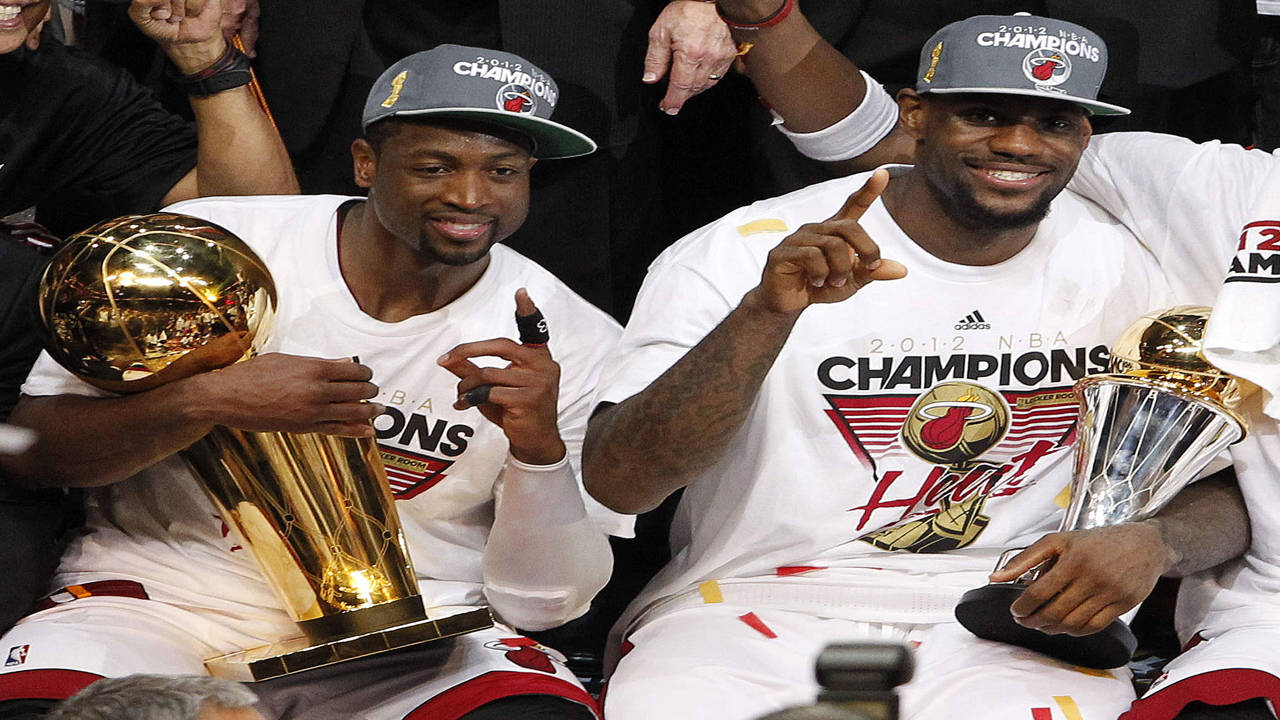 Dwyane Wade and LeBron James celebrate 2012 NBA championship with Miami Heat