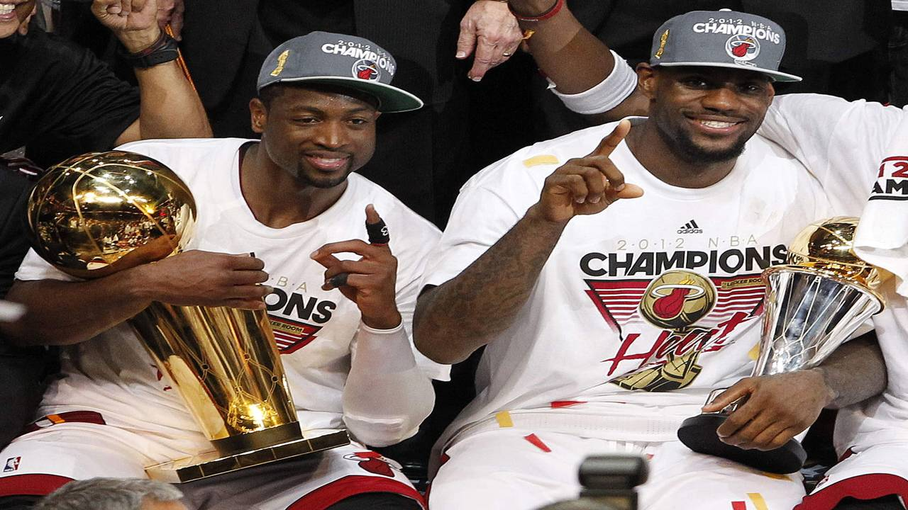 Dwyane Wade and LeBron James celebrate 2012 NBA championship with Miami Heat