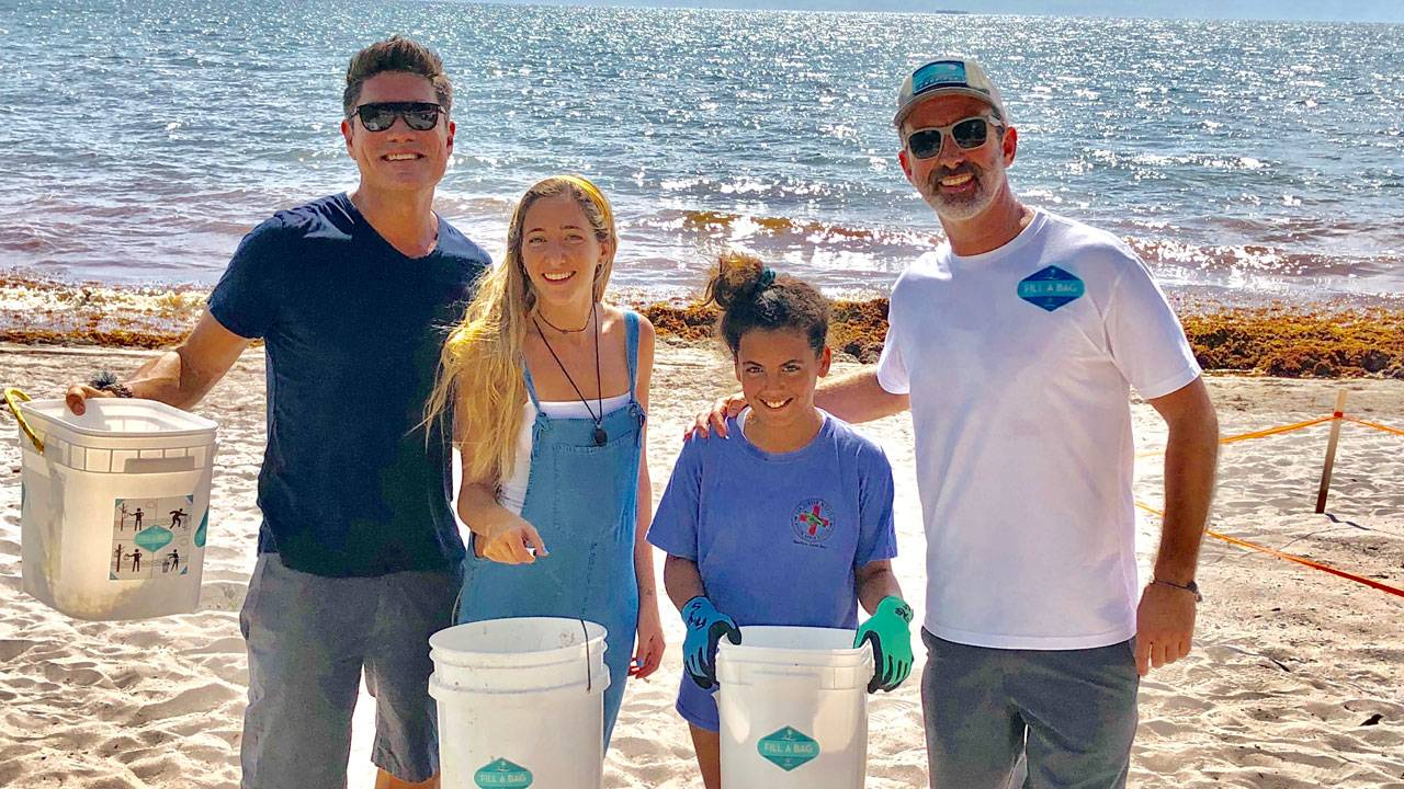Fill A Bag cleanup at the beach volunteering