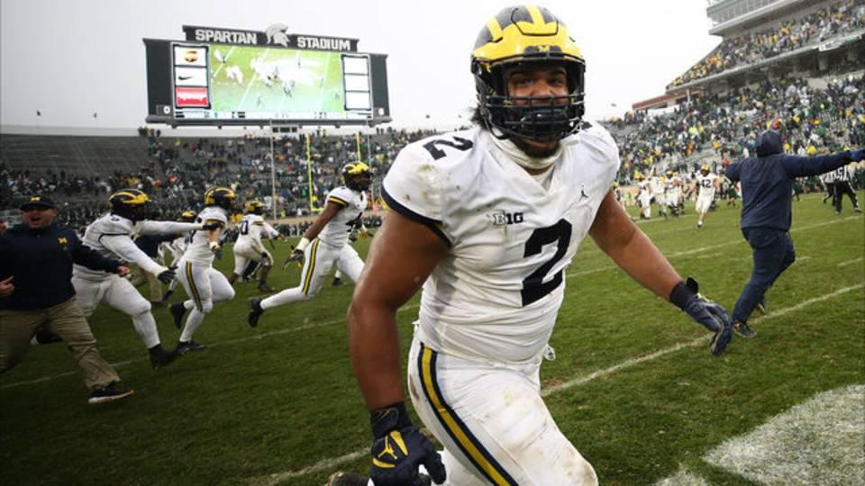 Carlo Kemp Michigan football vs Michigan State 2018